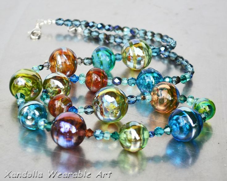 Carnival Series - silvered glass hollows - necklace by Su Bishop of Xandolla Wearable Art