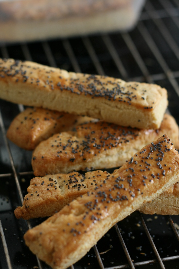 Cheddar poppy seed straws recipe from baking by