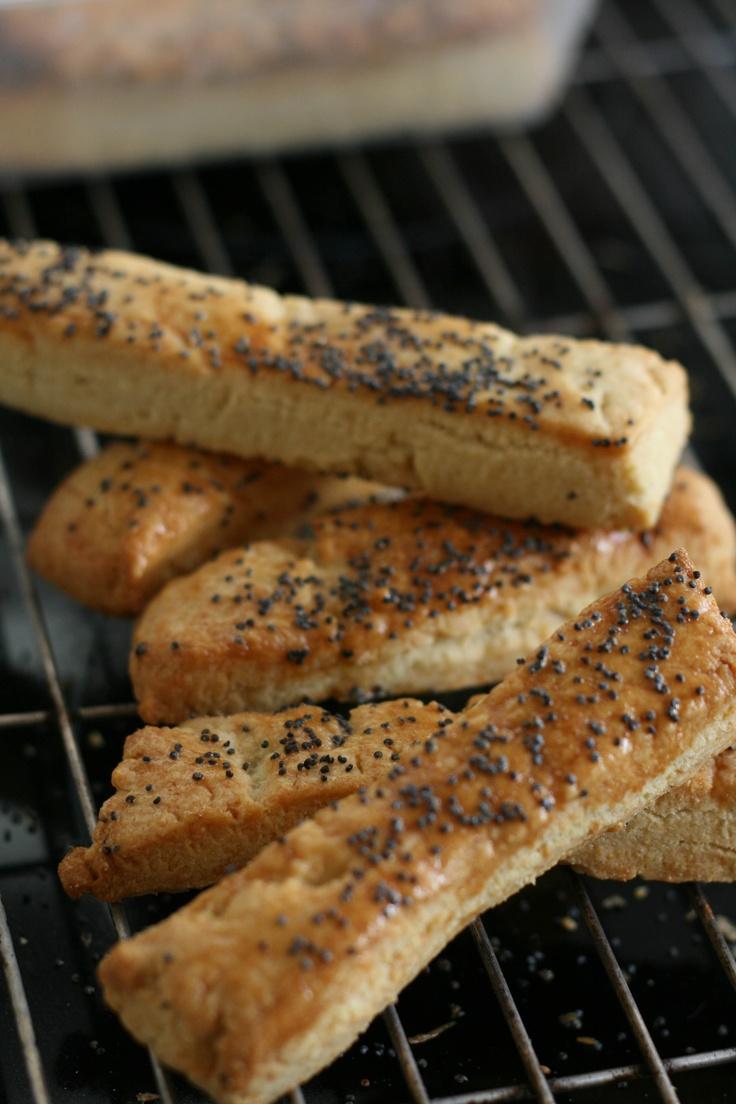 Cheddar & Poppy Seed straws. Recipe from 'Baking' by Sainsburys.