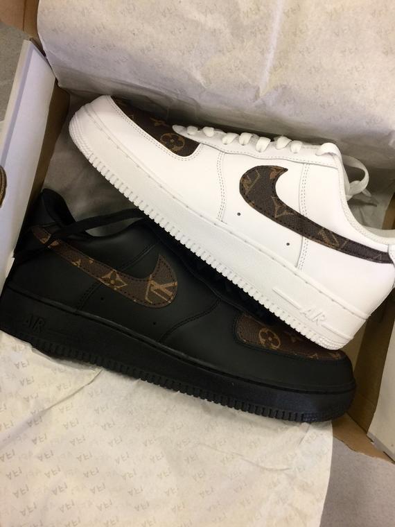 promo code fde5b 8786c Custom Nike Air Force 1 Brown LV Monogram Print   Etsy