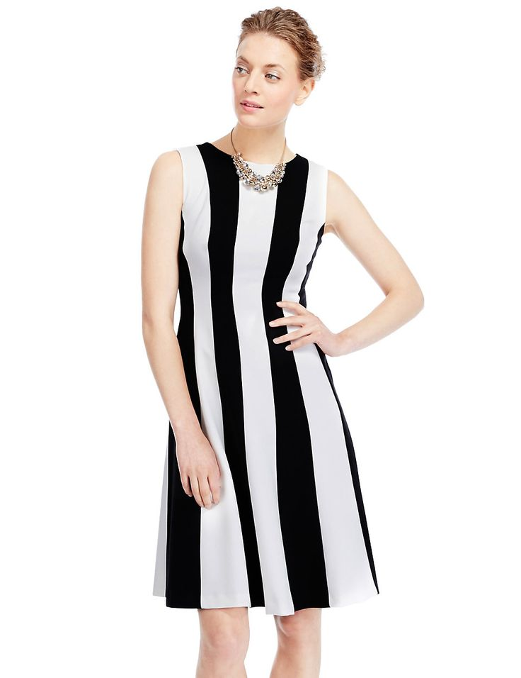 Vertical Striped Skater Dress