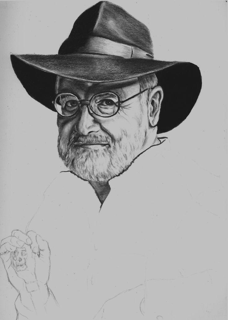 Work in progress Terry Pratchett portrait https://www.facebook.com/WairehuGrantArtwork?fref=ts