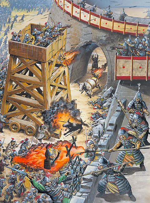 """Fire oxen, fire balls and fire lances against siege towers at De'an, China 1132"""