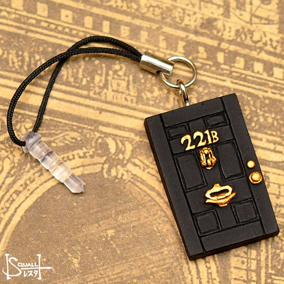 Sherlock 221B Baker Street Door  Phone Charm with by squallworks, $7.00