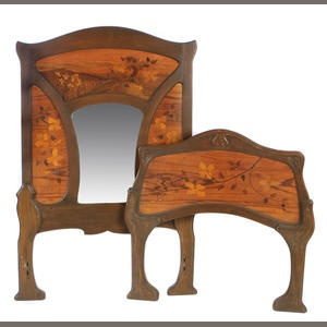Bonhams 1793 : An Art Nouveau marquetry single headboard and footboard