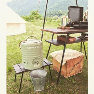 ❁2015.5.27 先週末のキャンプにて ジャグスタンドを新規投入♪ アイアンの脚は 岐阜の義父に(笑) オーダーを…
