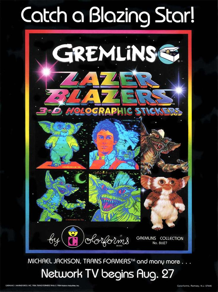 I owned these hologram stickers as well. I absolutely adored them. And I had a bit of a crush on Zach Gallian, the actor who played the part of the male lead, Billy Peltzer. So the sticker in the upper right-hand quadrant was my absolute favorite of the bunch. <3