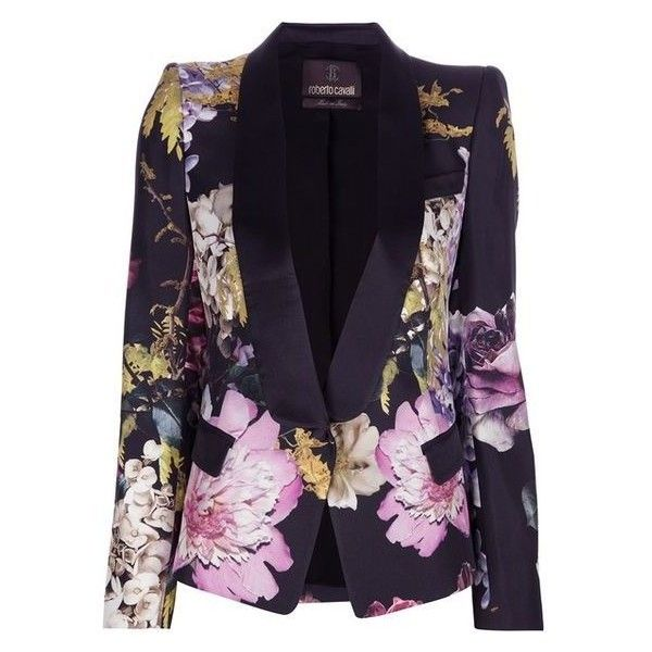 ROBERTO CAVALLI multi-coloured floral blazer ❤ liked on Polyvore featuring outerwear, jackets, blazers, shawl collar jacket, colorful blazers, floral blazer jacket, shawl collar blazer and floral-print blazers