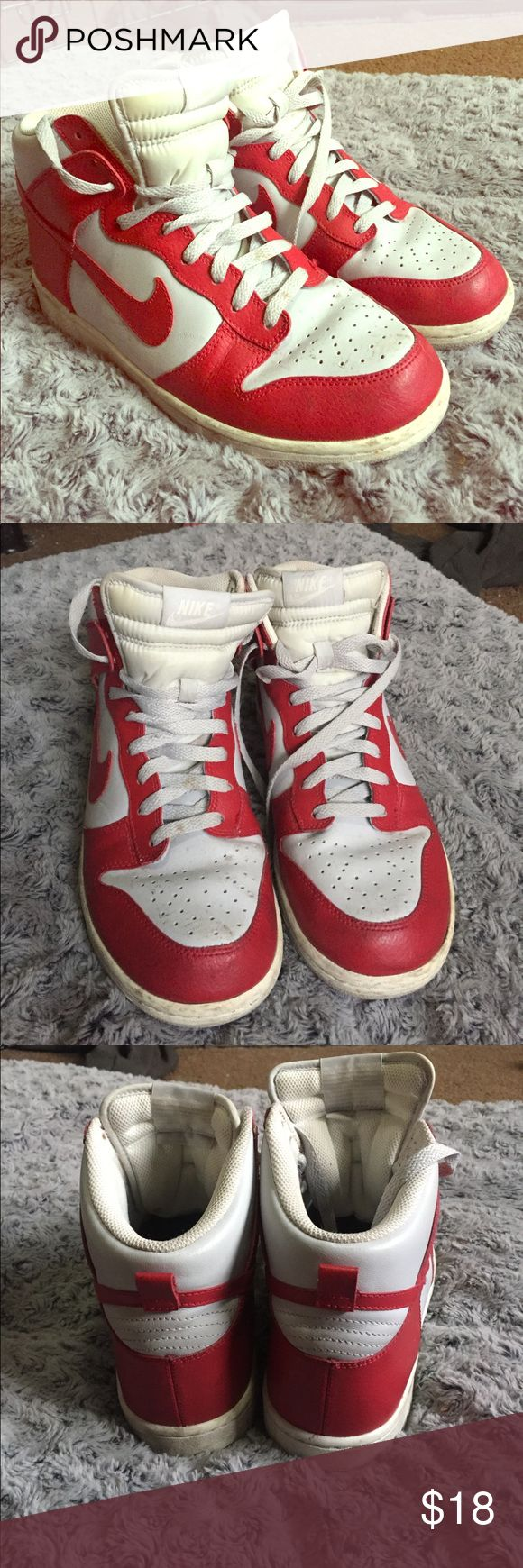 NIKE Red & White Hi-Tops nike hi tops only used to dance in a few times!! Great for hip hop Nike Shoes Sneakers