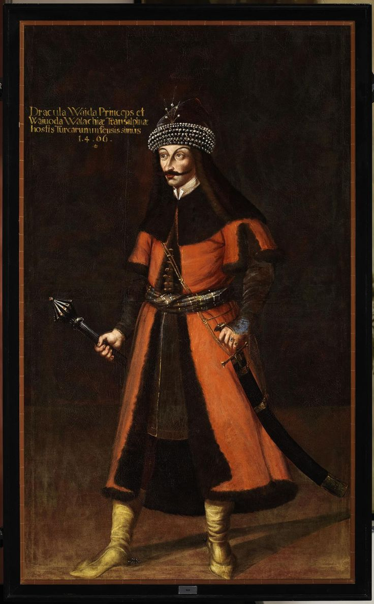 Príncipe Walaquiano Vlad III Tepes Dracula, na galeria de Antepassados no Castelo Forchtenstein. Quadro mandado pintar pelo Príncipe Paul no séc. XVII.