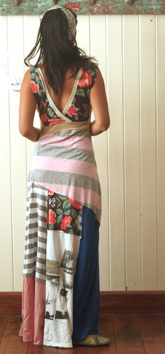 upcycled tee shirt reversible maxi dress. Black Bedroom Furniture Sets. Home Design Ideas