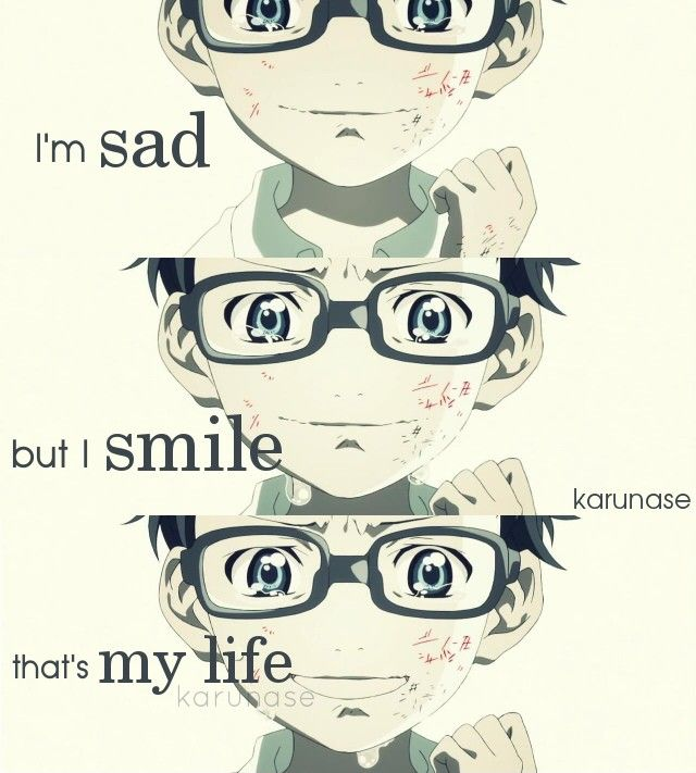 """I'm sad but I smile, that's my life.."" || Anime : Shigatsu Wa Kimi No Uso (Your Lie In April) || Edited by Karunase || Tumblr: karunase.tumblr.com"