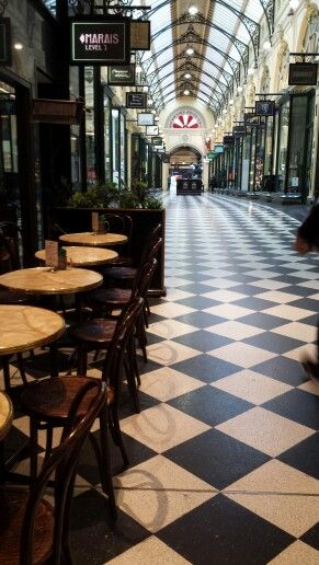 Early morning coffee house Royal Arcade Melbourne.