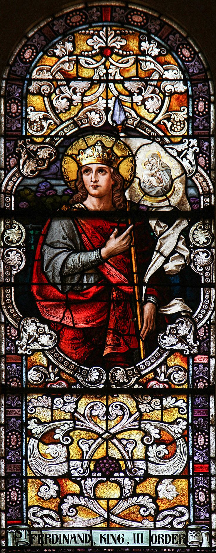 St Ferdinand III of Castile // This stained glass window of the saint is in the Franciscan Monastery in Washington DC.// Photo: Lawrence OP // Between 1234-36, Ferdinand conquered the city of Cordoba from the Moors. Queen Beatrice died in 1236, and he liberated the city of Seville from its Muslim occupiers on this day (23 November) in 1248. He rebuilt the Cathedral of Burgos and revitalised the University of Salamanca.