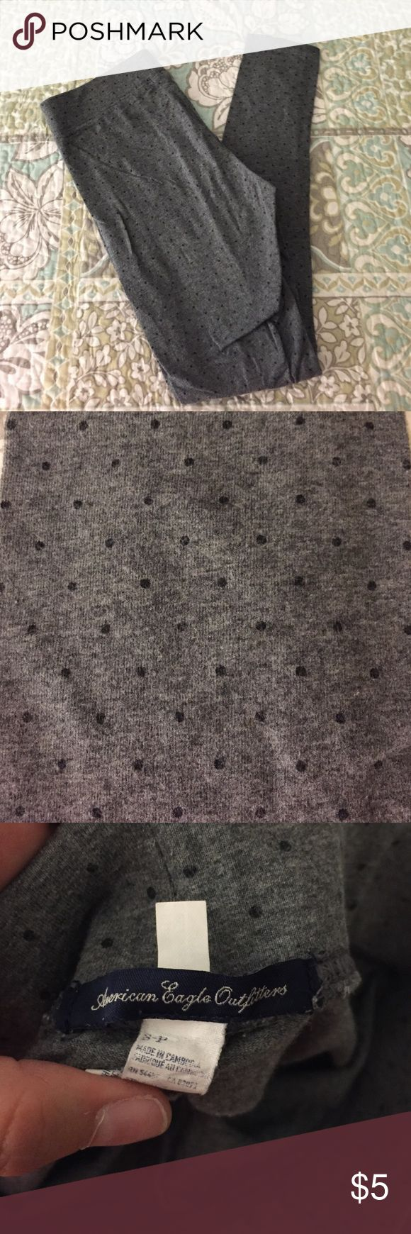 Polka dot leggins American Eagle cotton leggings. Gray with navy dots. Worn and washed American Eagle Outfitters Pants Leggings