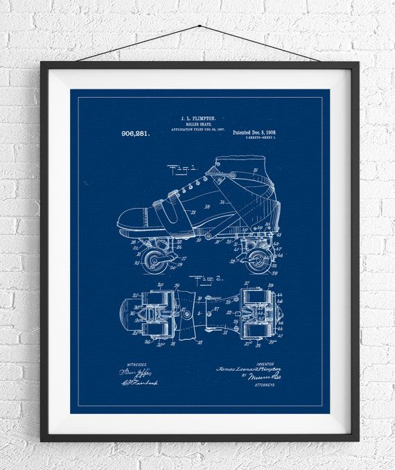 Roller Skate Patent Print, Patent Art, Roller Skate Blueprint, Office Wall Art, Gifts for Her, Roller Derby Gift, Vintage Patent Poster https://www.etsy.com/listing/493610695/roller-skate-patent-print-patent-art?ref=shop_home_active_3