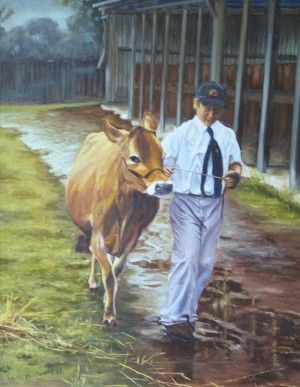 After The Show    47Cm X 59Cn. Oil On Canvas. Campbelltown Show 1999. A young St Gregory's student showing the family star. Phillip Carrero.