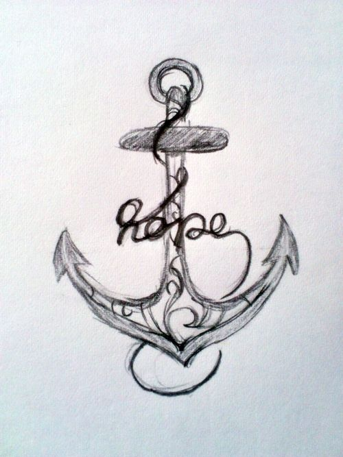 "Anchor tattoo idea with ""hope"" word."