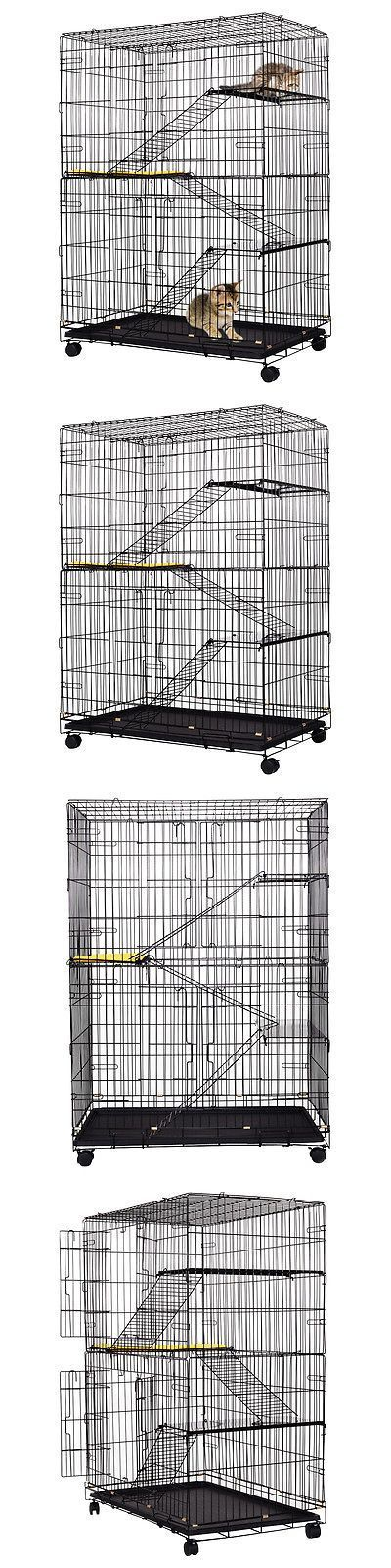 Carriers and Crates 116362: 4-Tier Cat Playpen Cat Cage With 3 Climbing Ladders And 3 Rest Benches And Cushion -> BUY IT NOW ONLY: $77.99 on eBay!