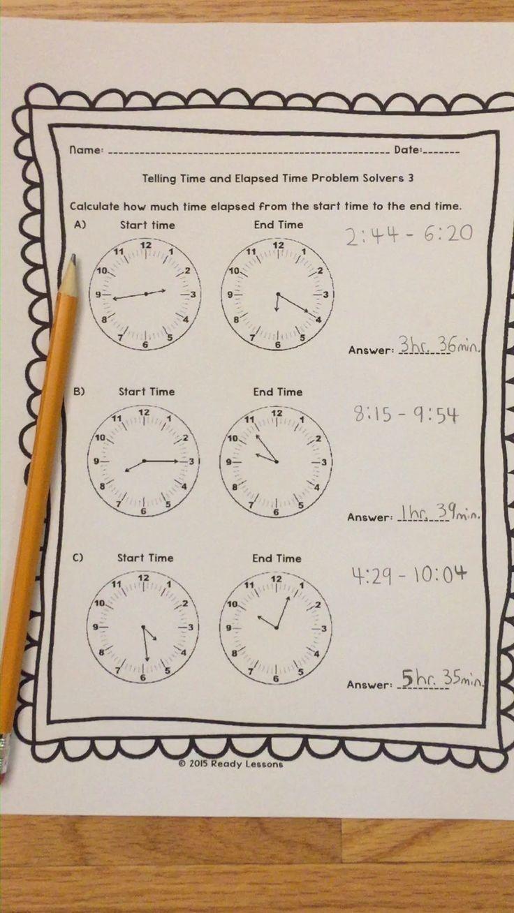 elapsed time 3rd grade worksheets elapsed time 3rd