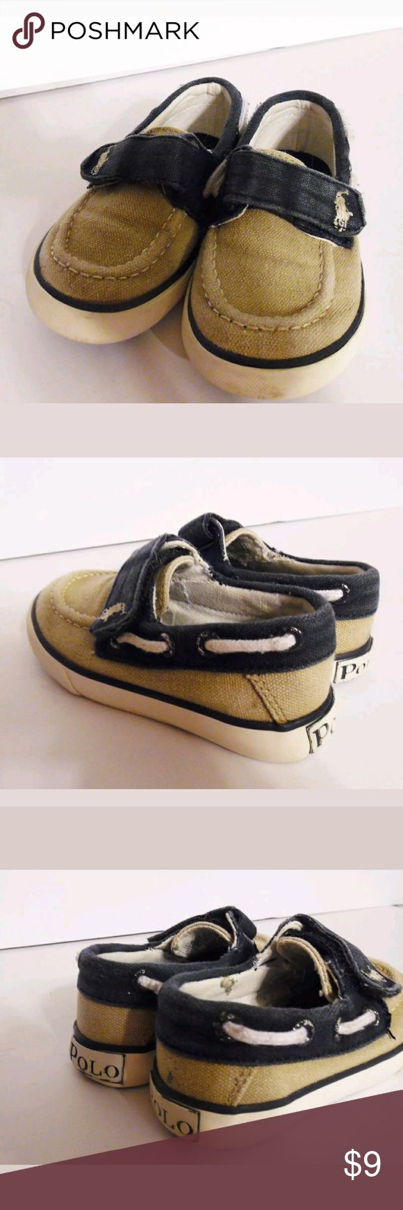 Ralph Lauren Polo canvas boat shoes RALPH LAUREN Polo  ___________________________________________________________________________   Color: Tan, Blue  Style: Canvas Casual  Size: Toddler 6     Condition: Previously Owned    Material: Canvas  Polo by Ralph Lauren Shoes Sneakers