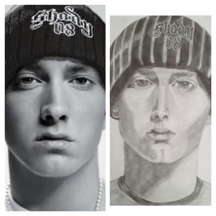 Eminem portrait, pencil drawing