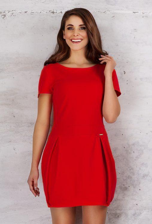 Czerwona sukienka bombka krótki rękaw fashion4u.pl