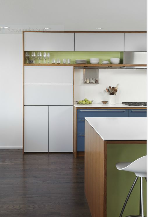 contemporary kitchen, white, blue, green