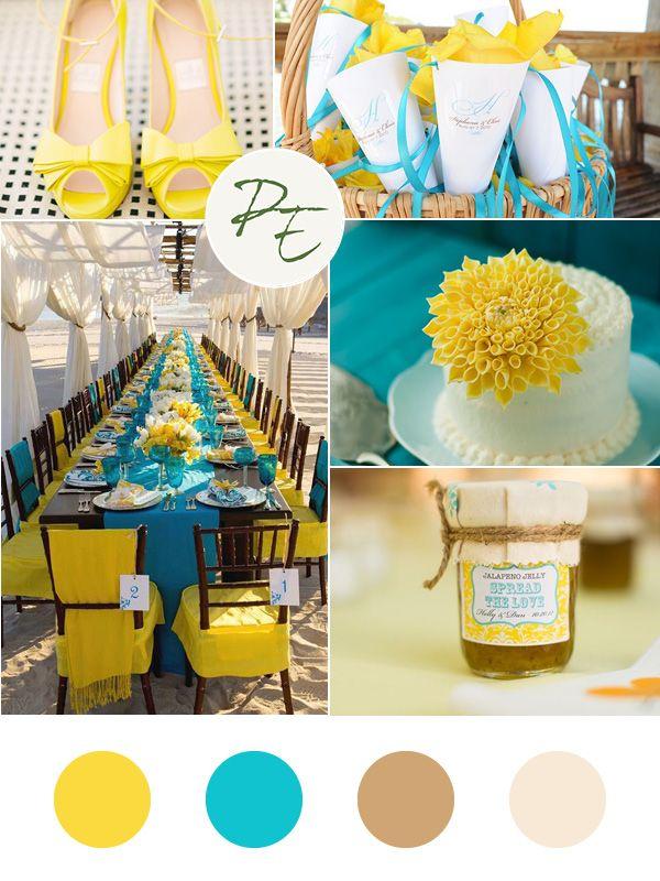 Wedding moodboard yellow turquoise  Matrimonio giallo turchese  Pietroburgo Eventi Wedding Planner