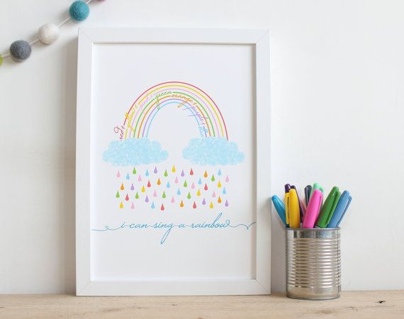 Nursery Rainbow Print A4 Nursery Art Children's by EskimoKissesUK