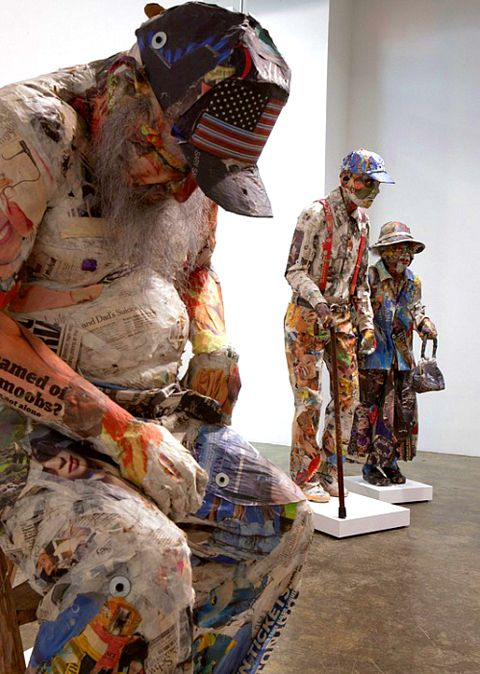 """""""Extra Fucking Ordinary"""" (2011) by Will Kurtz. Paper sculptures; installation at the Mike Weiss Gallery, NYC."""