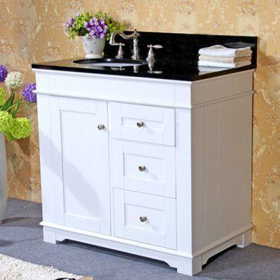 "Legion Furniture 36"" Single Bathroom Vanity Set Base Finish: Espresso, Top Finish: Egypt Beige Granite"