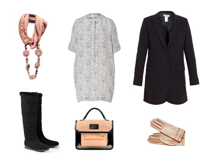 Paul and Joe dress and long blazer Philosophy di Alberta Ferretti bag Laurèl boots Tara Jarmon leather gloves Maliparmi necklace-scarf all for sale in our online shop www.boutiquechic.es