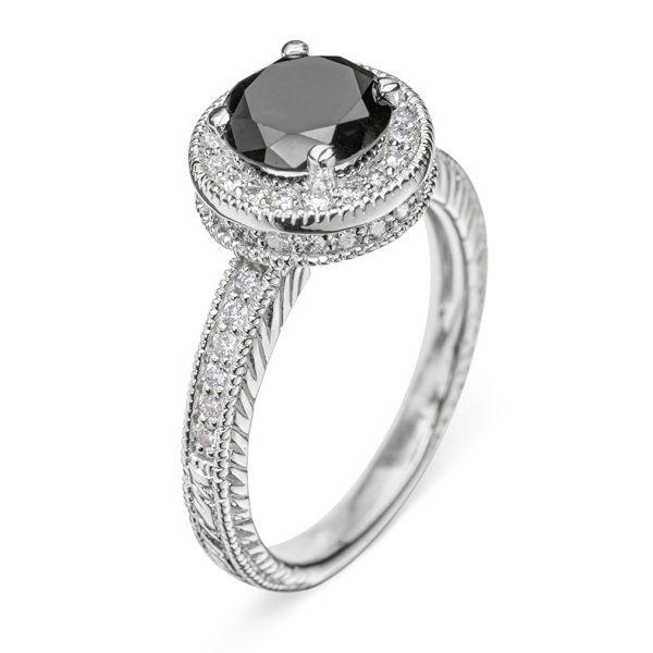 Кольцо с белого золота с черным бриллиантом Артикул R0068