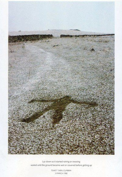 Lay down in the rain or snow to make an imprint of your body. Andy Goldsworthy