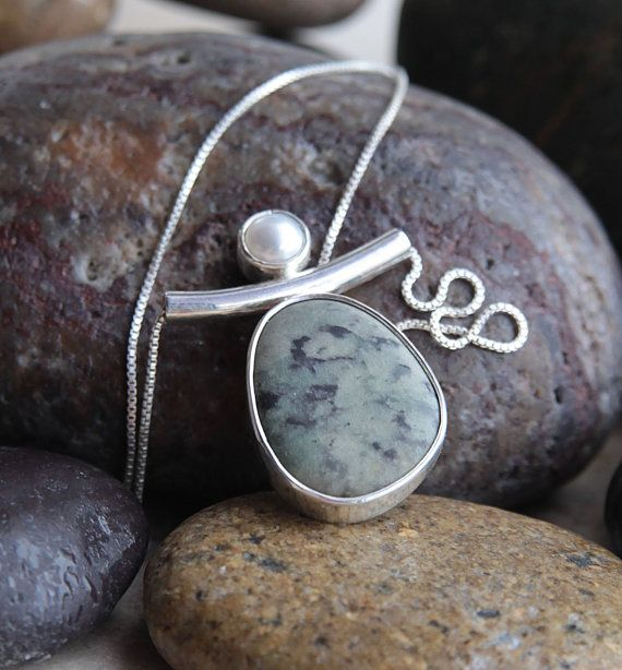 Sterling Silver Beach Stone and Pearl Pendant by KMallaby on Etsy