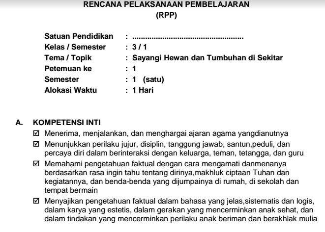 Download RPP Kurikulum 2013 Kelas III Tema 1 Sayangi Hewan dan Tumbuhan di Sekitar Format PDF