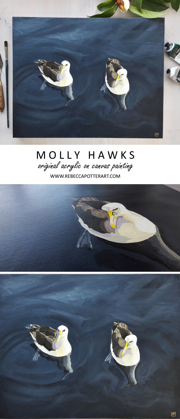 Molly Hawks floating on the Ocean. Original Acrylic on Canvas Painting by Rebecca Potter. July 2017 [SOLD]