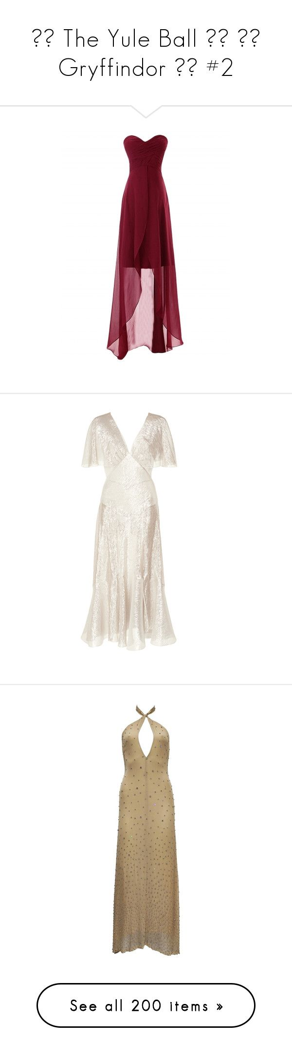 """""""❄️ The Yule Ball ❄️ ❤️ Gryffindor ❤️ #2"""" by moon-crystal-wolf ❤ liked on Polyvore featuring dresses, hi lo prom dresses, slimming cocktail dresses, holiday party dresses, cocktail dresses, prom dresses, neutral, v-neck dresses, white short sleeve dress and white dress"""