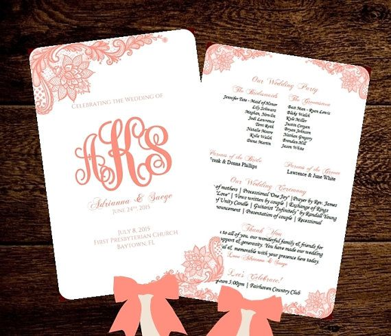 wedding fan program template printable coral by