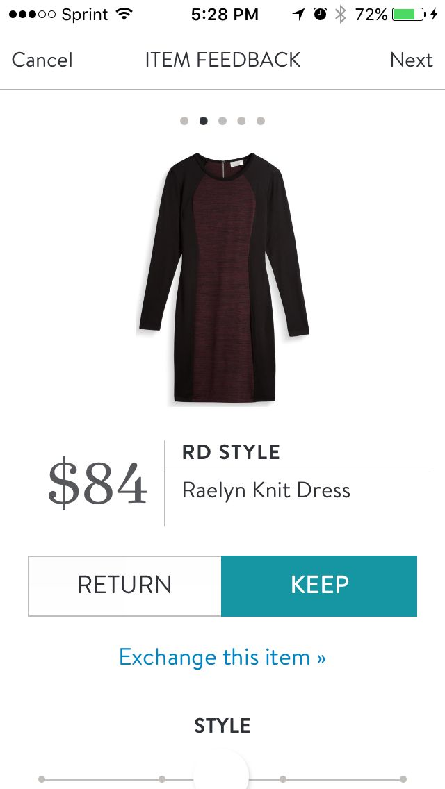 RD Style Raelyn Knit Dress - Stitch Fix exclusive. Love the burgundy and black combination and illusion sides. The burgundy is a thick knit, great for fall.winter. Received in Fix #39. KEPT. Price $84, with keep all discount $63