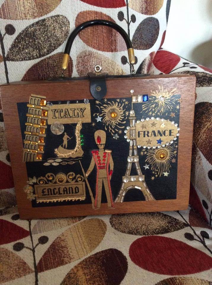 Vintage 1960s Handbag Purse Wood Box Bag Travel Theme