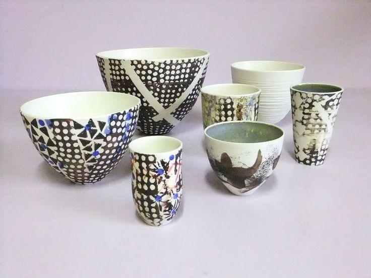 """Jean-Claude Signoret"" workshop (France). 2015 Argilla France. International pottery fair. Porcelain. Bowl. Beaker"