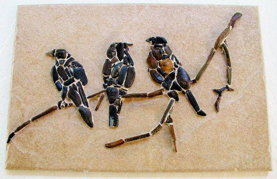 three sparrows sitting on a twig by PEBBLEMOSAICS on Etsy