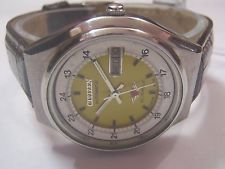 Vintage Citizen Automatic Railway Time Watch 21 Jewels Day Date Japan Made