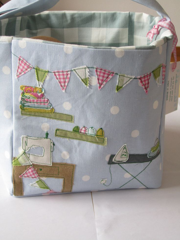 Love it ! pretty colors combination & applique designs - Crafty sewing box by  Amber Pritchard ~