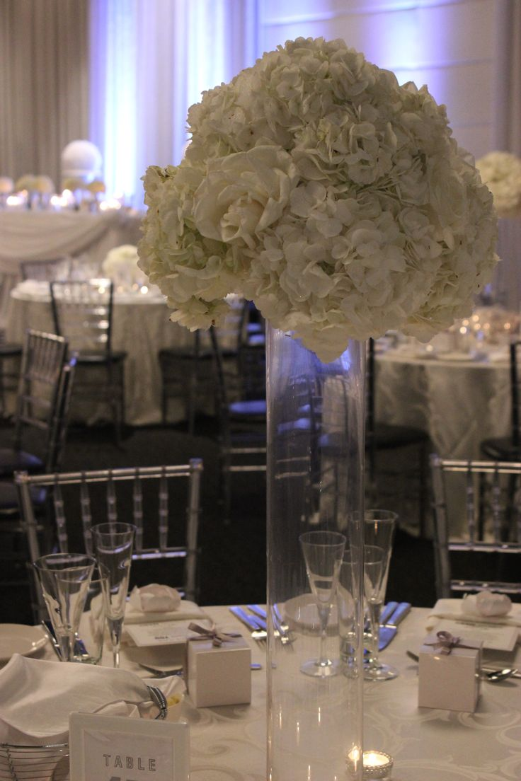 All white centerpieces of hydrangea and roses