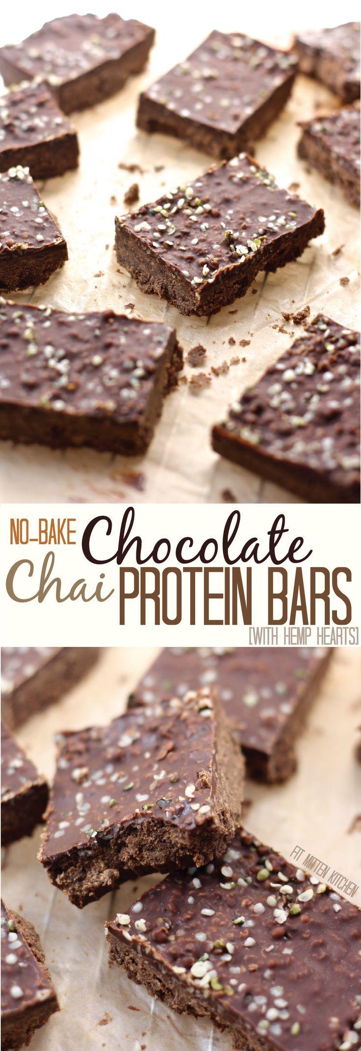 We're celebrating some hemp heart love with these Chocolate Chai Protein Bars. Chocolate-y, chai-like, vegan-friendly, no-bake goodness. #vegan #dairyfree #protein #plantprotein #hemphearts
