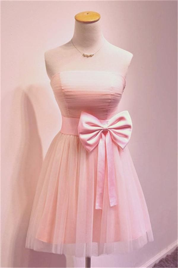 Girly Simple Short Pink Strapless Homecoming Dresses