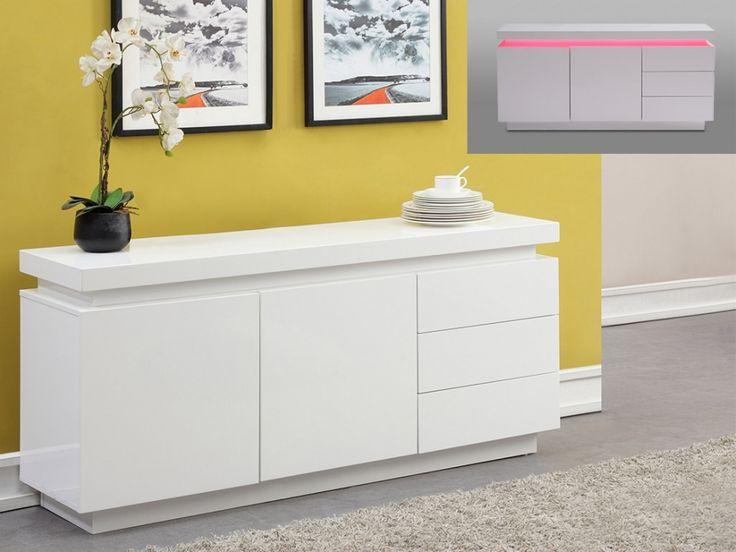 Buffet bas EMERSON - 2 portes & 3 tiroirs - MDF laqué blanc - LEDs